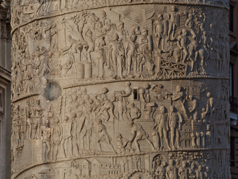 Trajan Addresses the Troops, Builds Forts, Builds Bridges, and Commands Scouting Parties