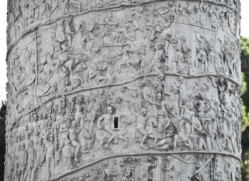 Trajan Watches a Battle, Jupiter Fights on the Side of the Romans, the Dacian Cavalry Nearly Drowns, and the Dacians Attack