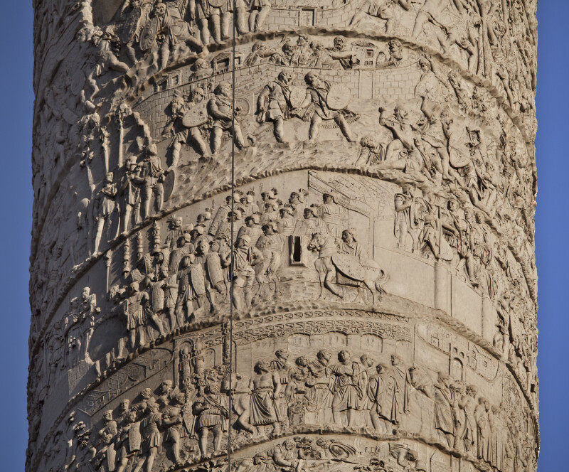 Trajan's Army Crosses a Bridge, Trajan Plans the Next Step, and the Dacians Fret