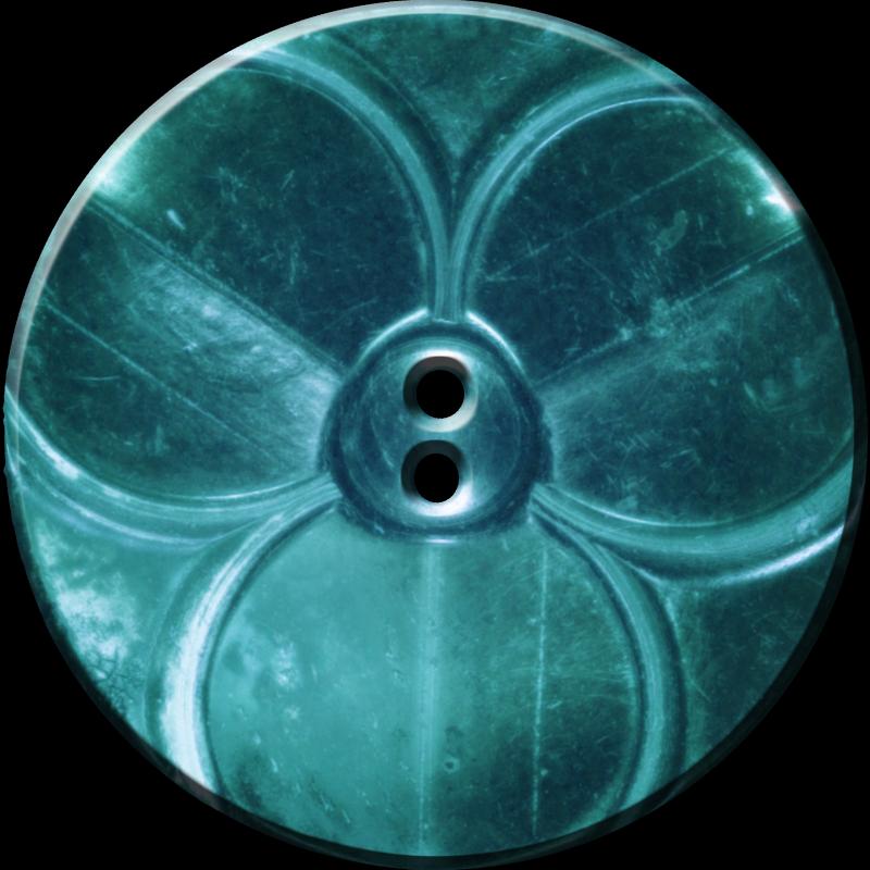 Trefoil Button, Turquoise
