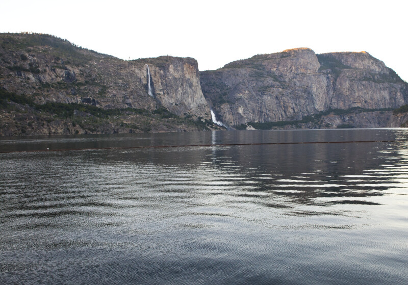 Tueeulala Falls, Wapama Falls, and Hetch Hetchy Dome from the Reservoir