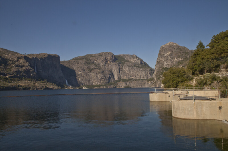 Tueeulala Falls, Wapama Falls, Hetch Hetchy Dome, and Kolana Rock around the Hetch Hetchy Reservoir