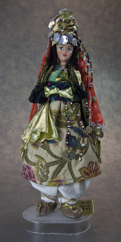 Turkey Peasant Mother Wearing Scarf and Shawl with Many Coins and Colorful Beads (Full View)