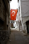 Turkish Flag Hanging in Alley in Kusadasi