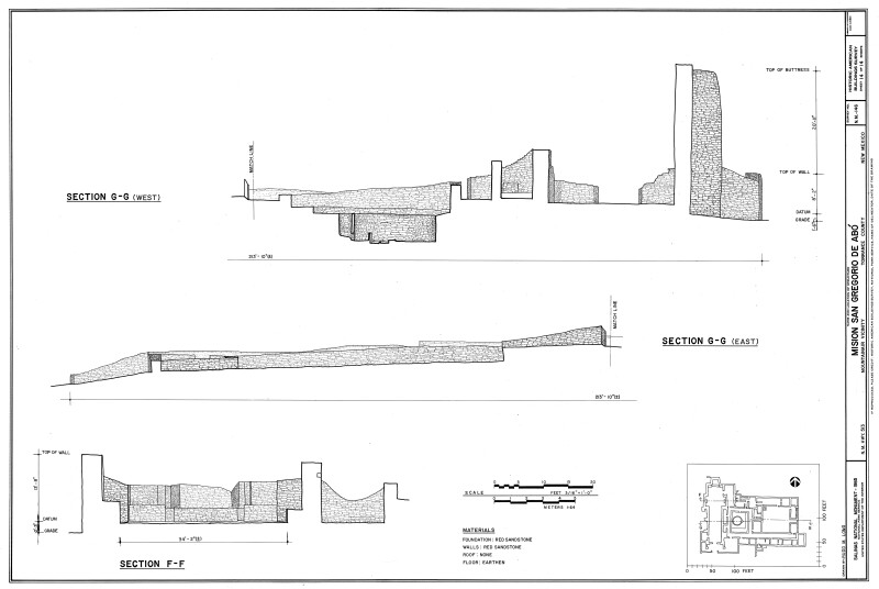 Two Section Drawings of Mission of San Gregoiro de Abó