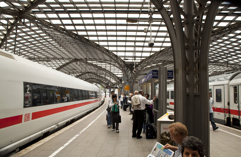 Two Trains at the Cologne Central Station