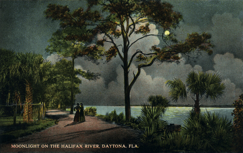 Two Women Enjoy the Moonlight on the Halifax River, Daytona, Florida