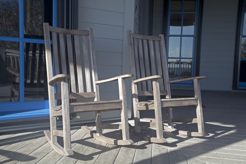 Two Wooden Rocking Chairs