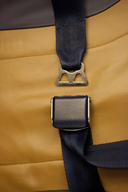 Unfastened Seat Belt on a Leather Seat
