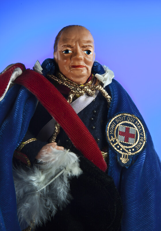 United Kingdom, Sir Winston Churchill Doll Wearing Velvet Cloak (Close Up)