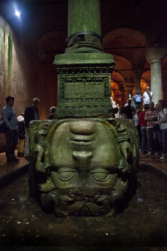 Upside-Down Head of Medusa at the Basilica Cistern