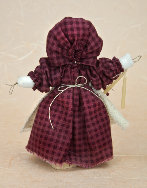 Utah Female Doll Wearing Pioneer Dress, Bonnet, and Apron  (Back View)