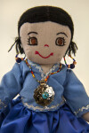 Utah Hand Made Indian Doll with Silver Medallion Necklace and Turquoise Earrings (Close Up)