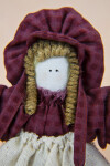 Utah Handcrafted Pioneer Lady with Curly Fiber Hair and a Cotton Bonnet (Close Up)