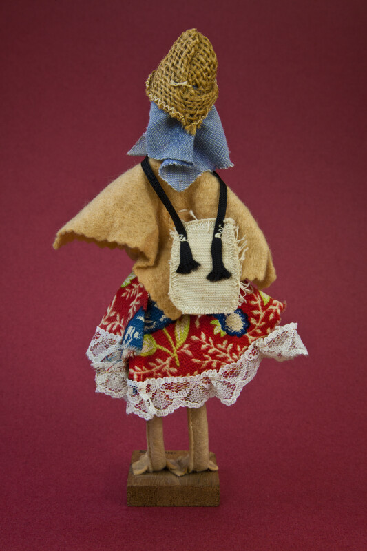 Venezuela Handcrafted Figure of Lady Made from Wire, Felt, and Cloth (Back View)