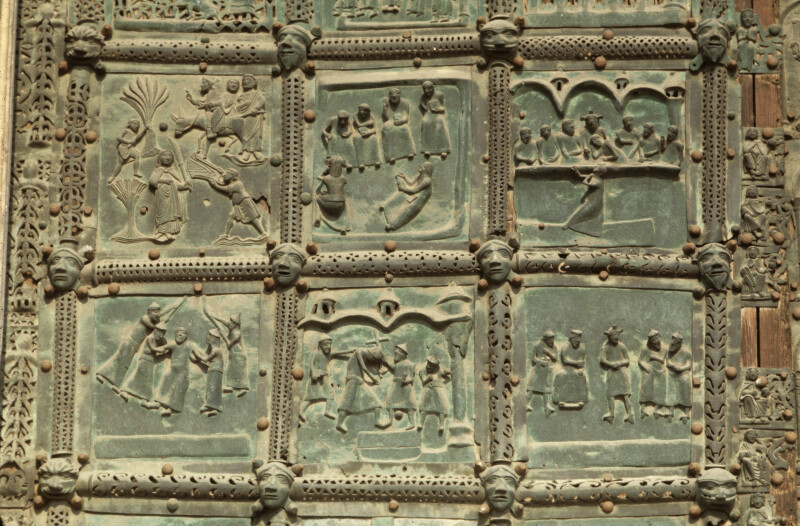 Verona, San Zeno, bronze doors, scenes of Jesus' Passion, third and fourth rows of left door