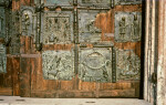 Verona, San Zeno, bronze doors, six panels, King Nebuchadnezzar and the fiery furnace, two scenes of St. Zeno, Abraham's sacrifice of Isaac, Noah's ark, and St. Michael and the dragon