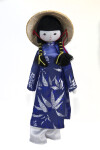 Vietnam Fabric Figure of Woman in Traditional Costume (Full View)