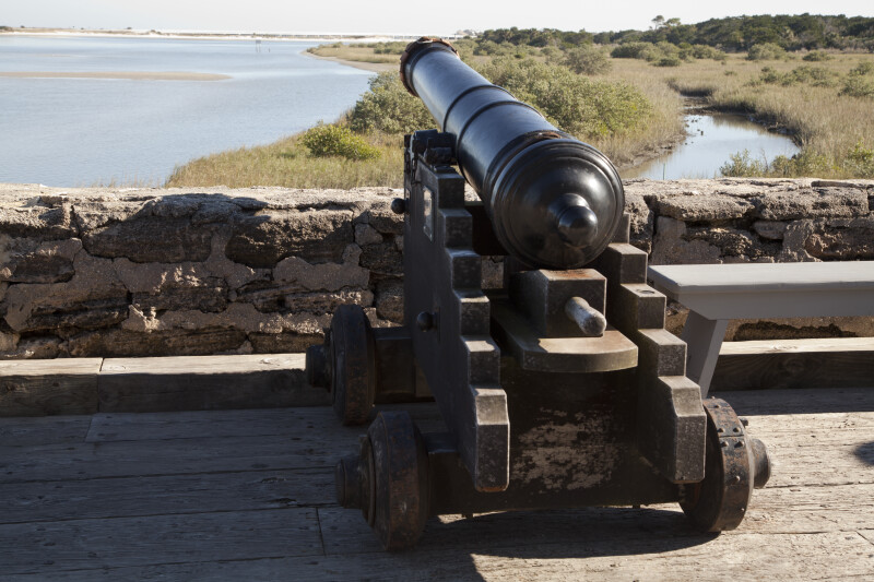 View of a Cannon on the Gundeck at Fort Matanzas Aimed at the Matanzas River Inlet