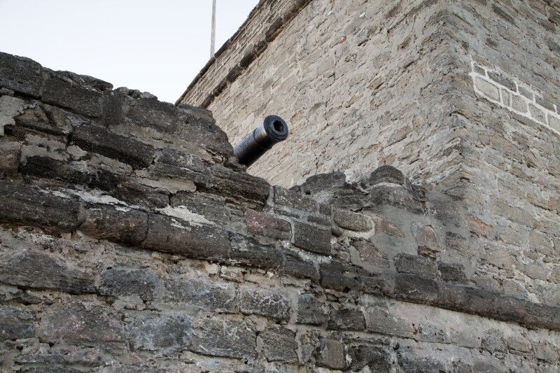 View of Cannon Barrel Protruding  Over the Gundeck Wall of Fort Matanzas