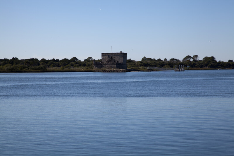 View of Matanzas River Inlet, with Fort Matanzas and Passenger Ferry Dock in the Distance