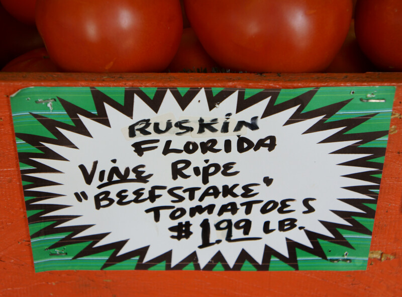 "Vine Ripe ""Beefstake"" Tomatoes at $1.99 per Pound"