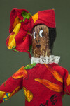 Virgin Islands Female Doll with Hand Painted Face on Mango Seed and African Style Head Scarf (Close Up)