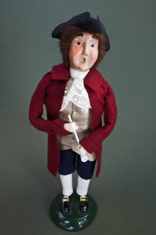 Virginia Colonial Caroler Doll with Doublet, Vest, Cravat, and Tri-Corner Hat (Full View)