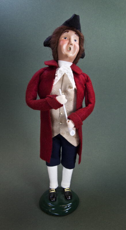 Virginia Colonial Male Doll Dressed in Doublet, Vest, Breeches, Hat, and Stockings (Full View)