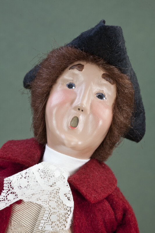 Virginia Colonial Man with Ceramic Head, Lace Cravat and Black Three-Cornered Hat (Close Up)