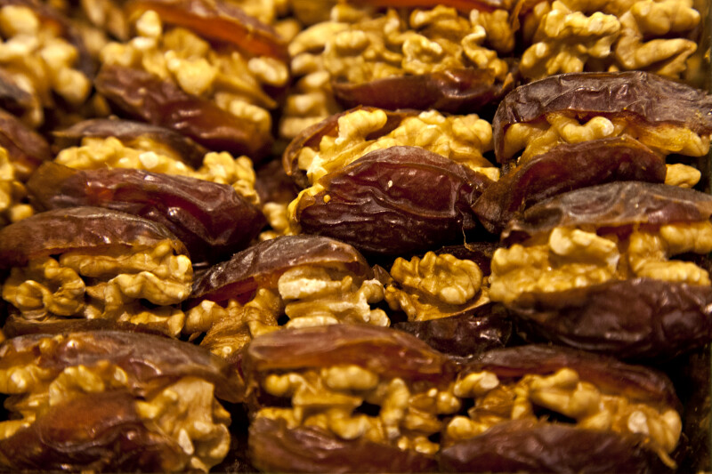 Walnuts with Date Enclosing at the Spice Bazaar in Istanbul, Turkey