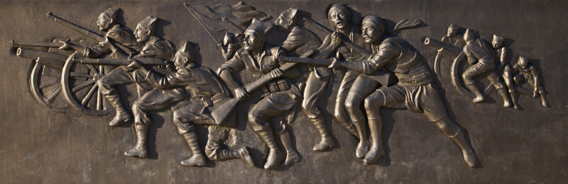 War Scene on the Kusadasi Peace Monument of Atatürk and Youth