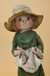 Washington Hand Made Figurine Made with Cloth Covered with Shellac and Wearing a Straw Hat (Three Quarter View)