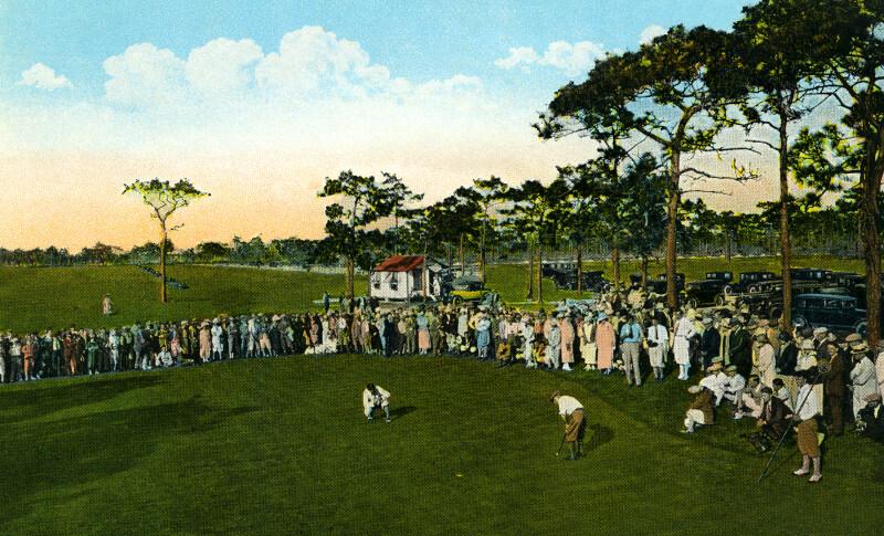 Watching a Close Golf Match at the Pasadena Golf Course