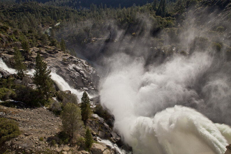 Water Cascading from the Spillway and the Floodgates above the Tuolumne River