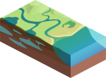 Water Cycle Illustration Including Only the Land and Water Elements