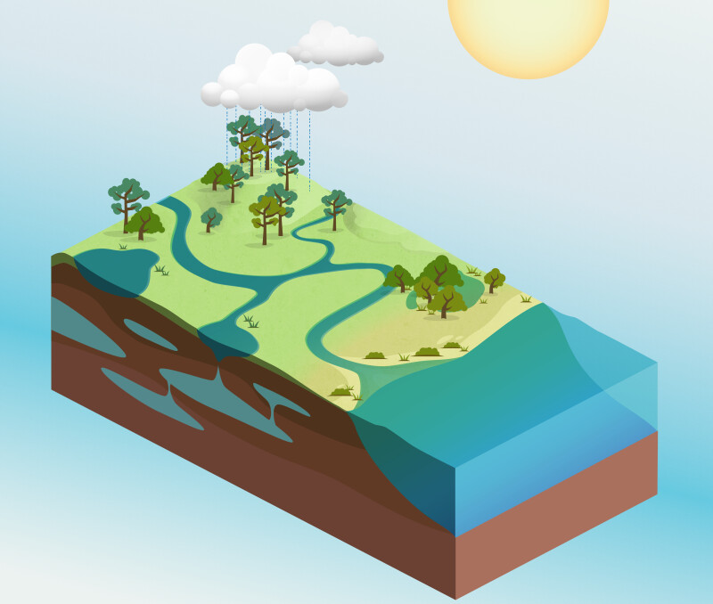 Water Cycle Illustration Without Directional Arrows
