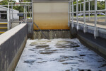 Water Flowing into Chlorine Contact Chambers