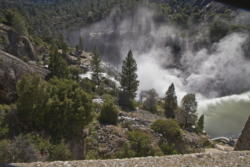 Water from the Floodgates of O'Shaughnessy Dam above the Tuolumne River
