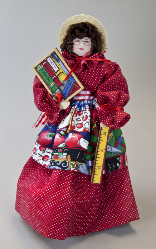 West Virginia Female Teacher Doll with Ruler and Slate Wearing Pioneer Dress (Full View)