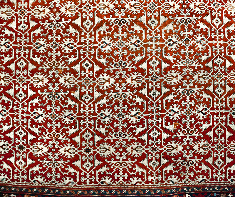 Western Anatolian Lotto Type Carpet Close-Up