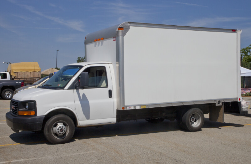 White, Medium-Sized Truck
