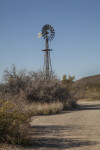 Windmill Surrounded by Dry Shrubs Along the Chihuanhuan Desert Trail of Big Bend National Park