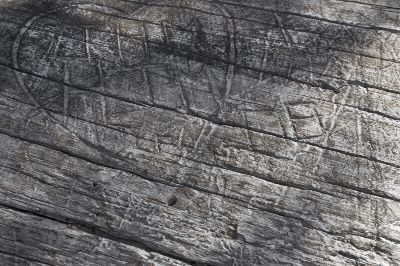 Wood with Carved Initials