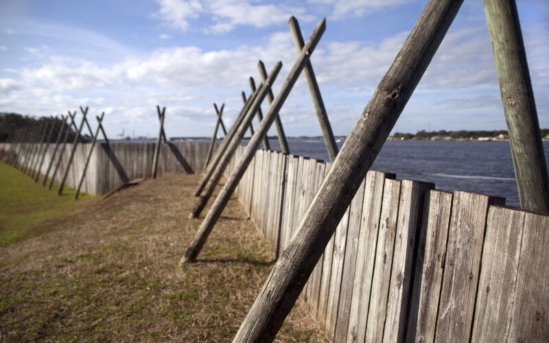 Wooden Boards and Wooden Beams Which Compose the Sea Wall of the Reconstructed Fort Carline