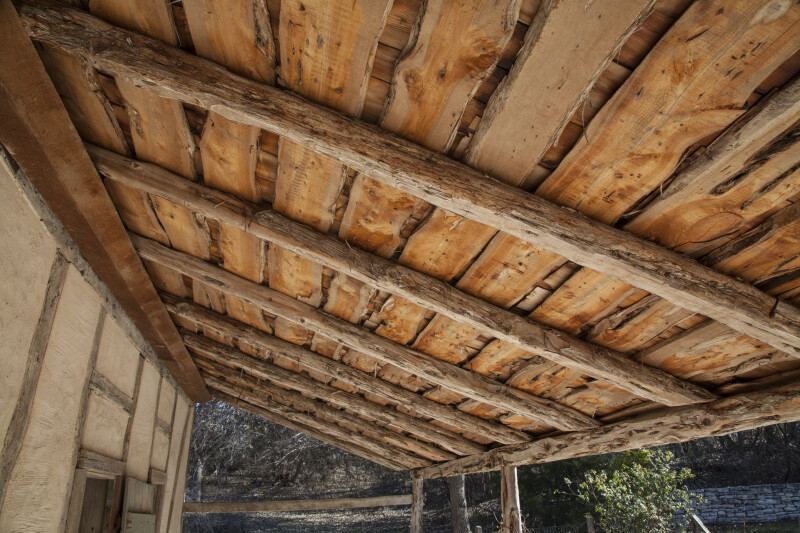 Wooden Boards Stabilizing Roof of Schumacher House