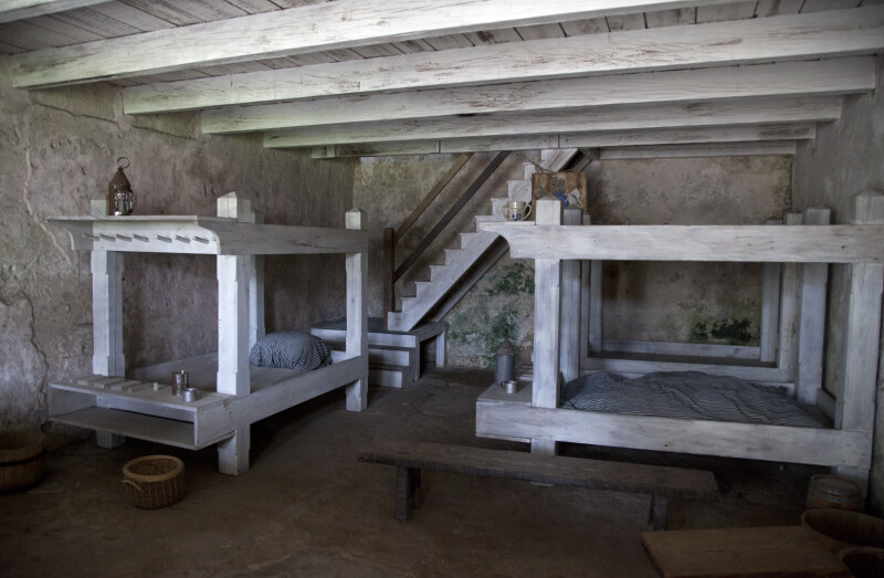 Wooden Bunks beneath a Wooden Ceiling