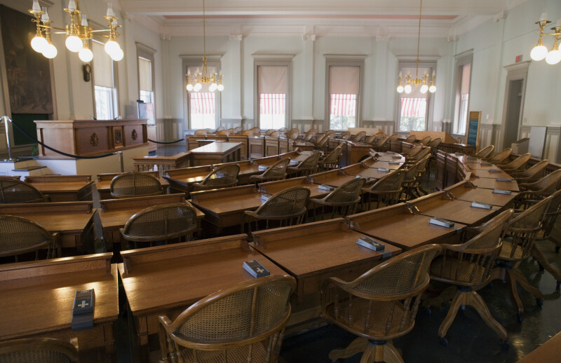 Wooden Desks at House Chamber