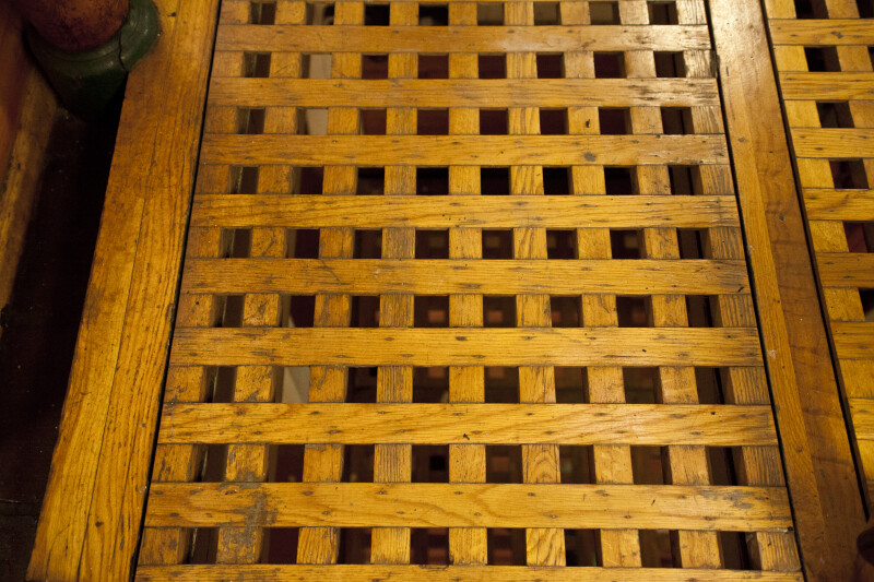 Wooden Lattice Covering a Hatch