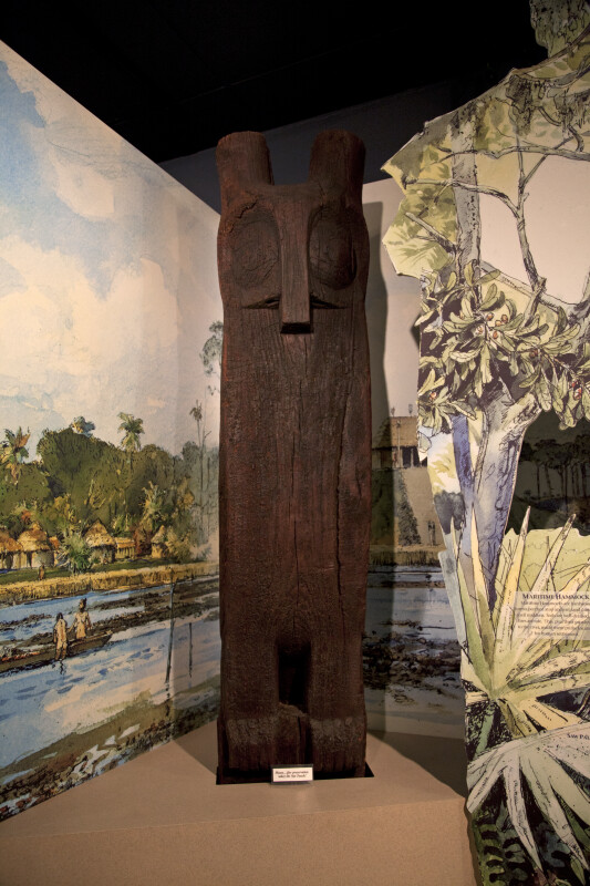 Wooden Owl Totem on Display at the Timucuan Preserve Visitor Center of Fort Caroline National Memorial